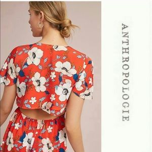 NWT Anthropologie Londonrose Red Floral Dress